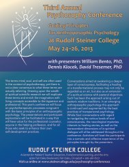 Psychosophy Conference Brochure 2013 - Rudolf Steiner College