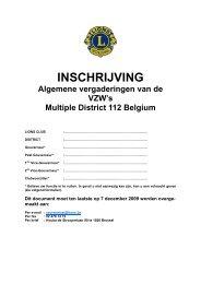 INSCHRIJVING - Lions Clubs International - MD 112 Belgium