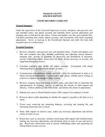 INGHAM COUNTY JOB DESCRIPTION UNIT SECRETARY ...