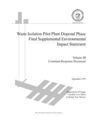 Volume III - Waste Isolation Pilot Plant - U.S. Department of Energy