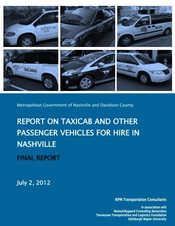 report on taxicab and other passenger vehicles for hire in - Taxi Library