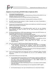 Allgemeine Ausschreibung 2012/13