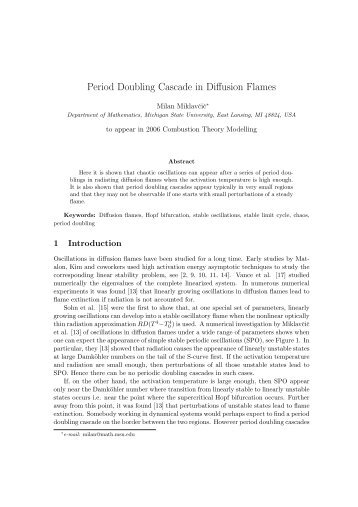 Period Doubling Cascade in Diffusion Flames - CiteSeerX