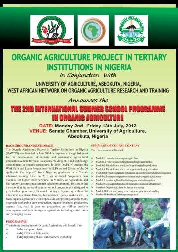 ORGANIC AGRICULTURE PROJECT IN TERTIARY INSTITUTIONS ...