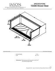 SPECIFICATIONS TZ3260 Shower Base - Jason International