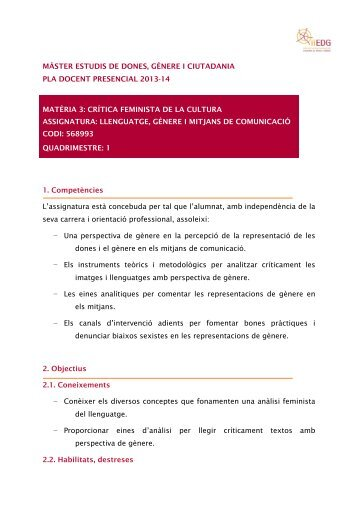 MÀSTER ESTUDIS DE DONES, GÈNERE I CIUTADANIA PLA ...