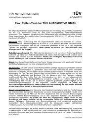 Pkw Reifen-Test der TÜV AUTOMOTIVE GMBH - Umweltbundesamt