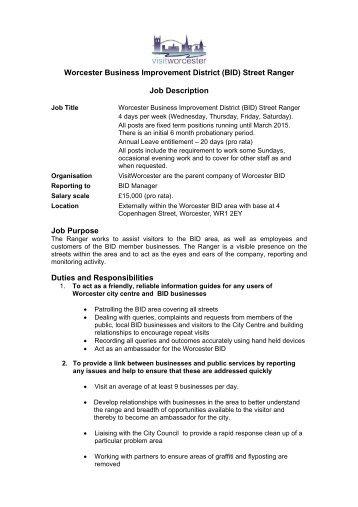Worcester Business Improvement District (BID) Street Ranger Job ...