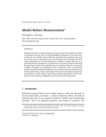 The Role of Dynamic Quantitative Models in Empirical Corporate ...