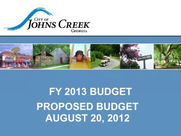 City of Johns Creek Proposed FY 2013 Budget