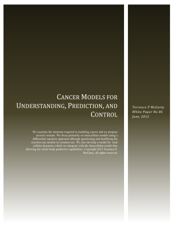 Cancer Models for Understanding, Prediction, and Control