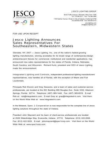 Jesco lighting announces sales representatives for southeastern