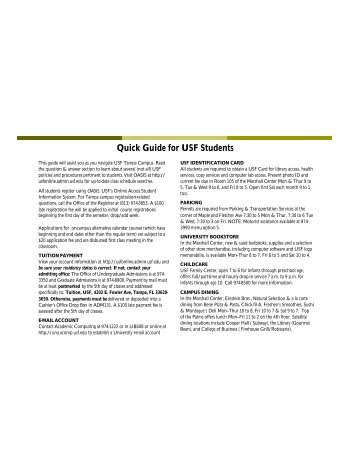 Quick Guide for USF Students - Office of the Registrar