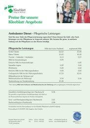 Preise für unsere Kleeblatt Angebote - Kleeblatt Pflegeheime gGmbH