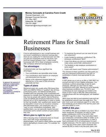 retirement projects for small to medium sized small business comparison