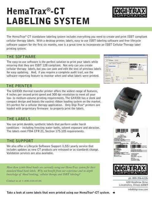 HemaTrax®-CT LABELING SYSTEM - Digi-Trax