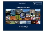 Geography at Oxford - School of Geography and the Environment