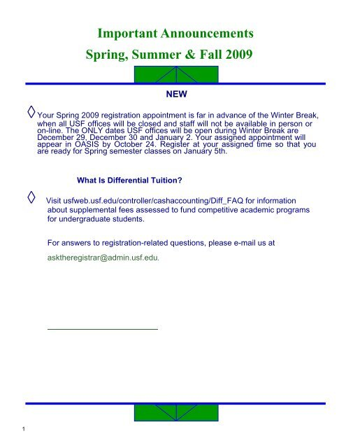 Usf Registrar Calendar.Sum Fall Spring 2008 09 Narrative Update Office Of The Registrar
