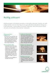 Merkblatt «Richtig anfeuern - Lungenliga