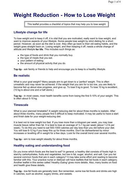 Lose weight checklist