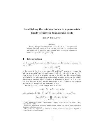 Establishing the minimal index in a parametric family of ... - FESB