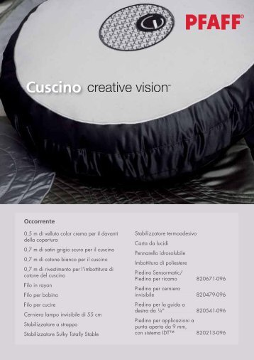 Cuscino (PDF) - Pfaff