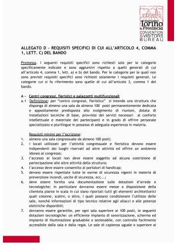 allegato d - requisiti specifici di cui all'articolo 4 ... - Turismo Torino