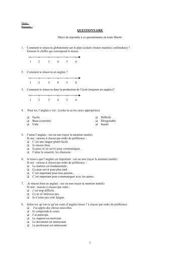 Questionnaires spécifiques - Site auxiliaire de l'IUFM de l'académie ...