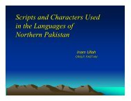Scripts and Characters Used in the Languages of Northern Pakistan