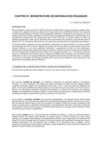 chapitre vii : microstructure des materiaux non organiques - mms2