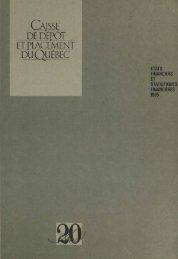 États financiers et statistiques financières 1985 - Caisse de dépôt et ...