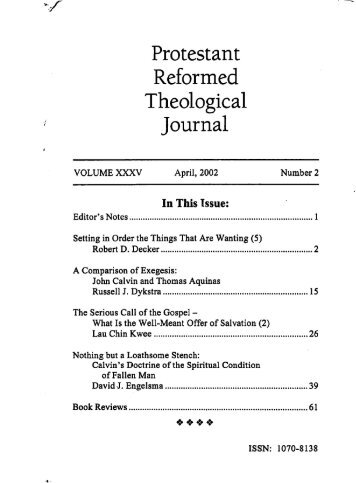 A Comparison of Exegesis: John Calvin and Thomas Aquinas