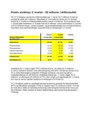 Positiv utvikling i 2. kvartal – 82 millioner i driftsresultat - Tv2