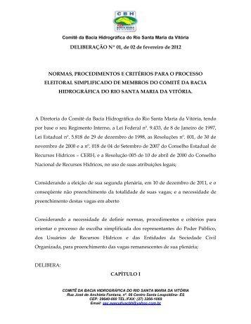 DELIBERAÇÃO Nº 01, de 02 de fevereiro de 2012 NORMAS ...
