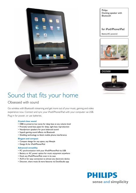 DS3500/98 Philips Docking speaker with Bluetooth - Yardley