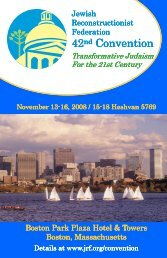 42nd JRF Convention brochure - Jewish Reconstructionist Federation