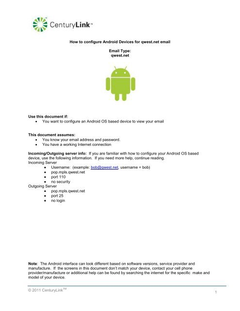 Centurylink Net Login >> How To Configure Android Devices For Q Com Email Centurylink