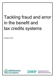 Tackling fraud and error in the benefit and tax credits ... - Taxation