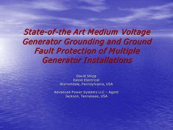 State-of-the Art Medium Voltage Generator Grounding and ... - Carilec