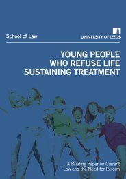 Young People who Refuse Life Sustaining Treatment - School of Law