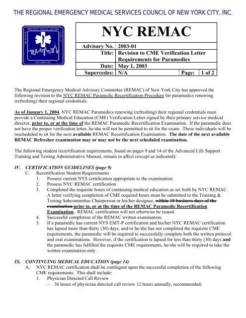 Change In REMAC CME letter pdf - The Regional Emergency