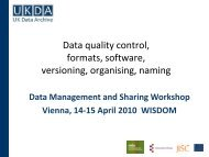 Data quality control, formats, software, versioning ... - ESDS