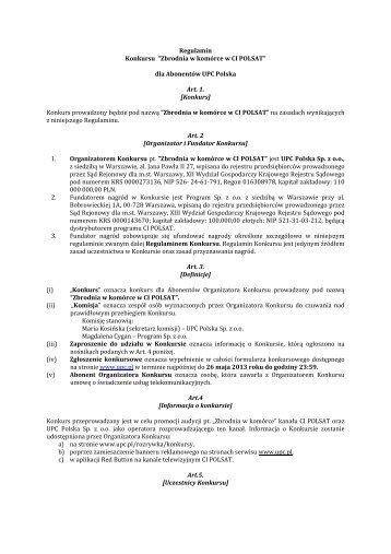 "Regulamin Konkursu ""Zbrodnia w komórce w CI ... - UPC Polska"