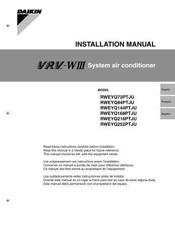Daikin Reyq installation Manual