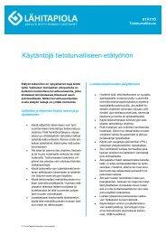 Käytäntöjä tietoturvalliseen etätyöhön - Tapiola