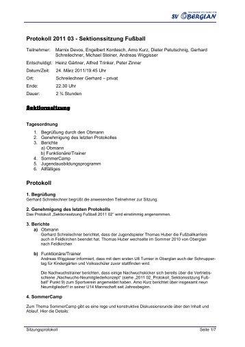 2011 03 NW Trainersitzung - Sportverein Oberglan