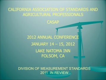 california association of standards and agricultural ... - CASAP