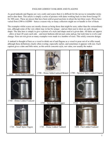 ENGLISH LIDDED TANKARDS AND FLAGONS - PewterBank