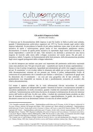 Gli archivi d'impresa in Italia di Fabio Del ... - Culture e impresa
