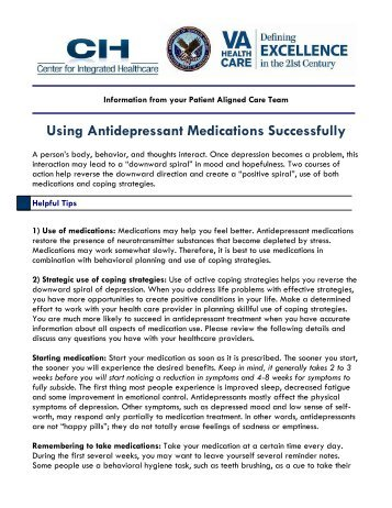antidepressants psychiatric medication used to alleviate New treatments for depression  a psychiatric pharmacist with the centre for addiction and mental health  used properly, antidepressants are a very useful tool.